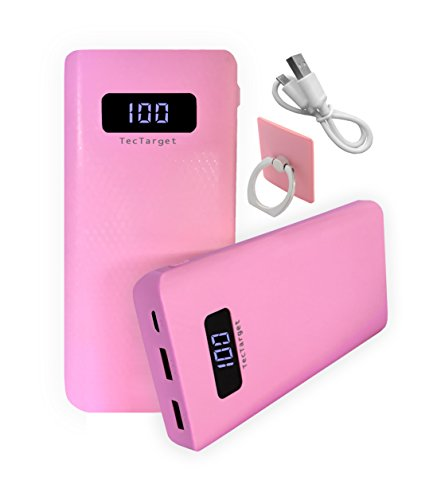 Price comparison product image TecTarget Portable Charger 10000mAh Power Bank With LCD Display And Grip Ring Charger Samsung, Galaxy, iPhone, Lg, iPad (Pink)