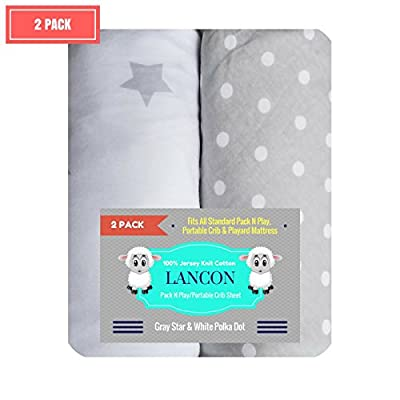 Pack N Play Portable Crib Sheet Set by LANCON Kids - 2 Pack of Ultra Soft, Premium 100% Jersey Knit Cotton Fitted Sheets