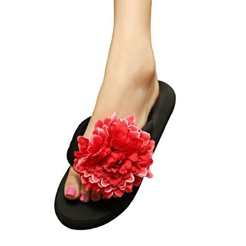 YOUJIA Mujeres Boho Flores Chanclas Verano Playa Zapatos de cuña Plataforma Zapatillas #4 Negro Rojo