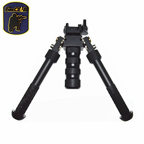 FIRECLUB 2017 New Arrival CNC 6.5 Inch to 9 Inch Tactical Bipod Adjustable Extension Quick Detach Picatinny Rail Mount Sniper Hunting with QD Mount And Metal 360° Revolving Design Black