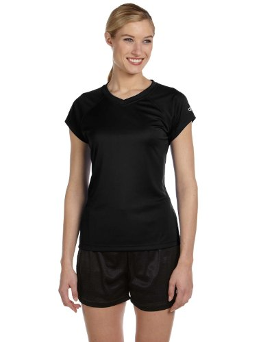 Champion para mujer doble seco 4.1oz. V-Neck T-Shirt (CW23) Negro