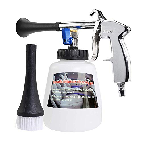 YVO Car Cleaning Gun Interior Washing Air Blow Gun Automotive Air Pulse Cleaning Equipment High Pressure Foamaster Nozzle Sprayer with 1L Foam Bottle (Plastic Nozzle with US Connector)