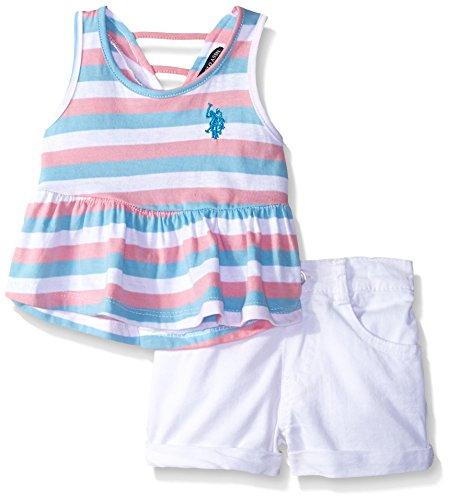 U.S. Polo Assn. Baby Girls' Peplum Tank Top and Twill Short, White, 3/6M