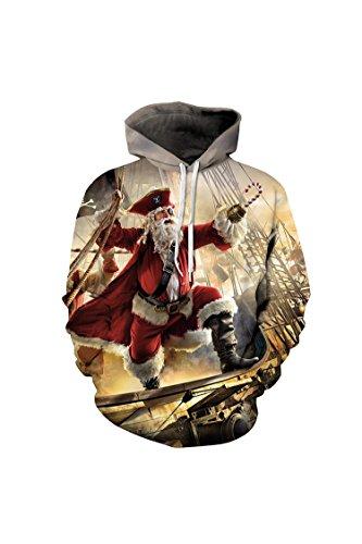 Cutiefox Women Plus Size Santa Claus Style Print Hoodie Sweatshirt Orange Size S