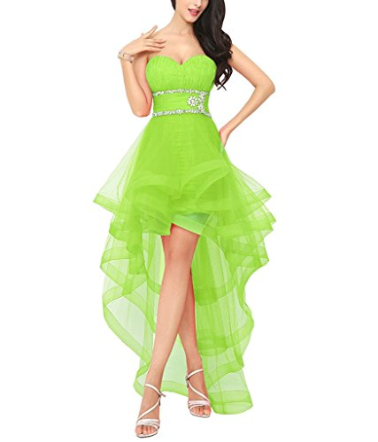 Lafee Bridal Sweetheart High Low Prom Evening Dresses Beaded Homecoming Cocktail Dress Lime Size 2