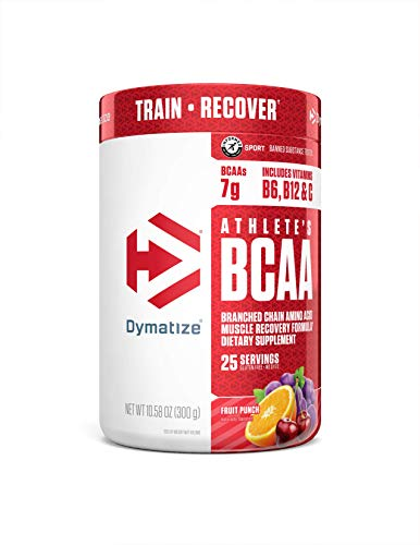 Dymatize Athlete's BCAA Supplement, 7g of BCAAs, Amino Acids Essential for Muscle Recovery, Fast Absorbing & Banned Substance Free, Fruit Punch, 25 Servings