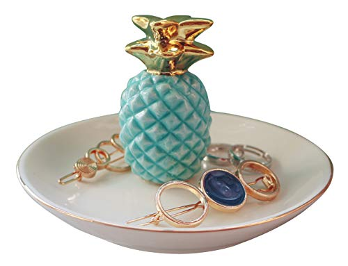 (Luxury Porcelain Pineapple Ring Holder, Ananas Ceramic Jewelry Tray, Bracelets Plate, Dessert Dish - Perfect for Holding Small Jewelries, Rings, Necklaces, Earrings, Bracelets, Trinket, Green Color)