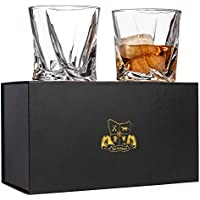 Twist Whiskey Glasses Set of 2. Lead Free Crystal Rocks Tumblers (300ml) by Van Daemon for Liquor, Bourbon or Scotch. Perfectly Gift Boxed.