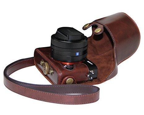 MegaGear MG1480 Sony Cyber-shot DSC-RX1R II, DSC-RX1R, DSC-RX1 Ever Ready Leather Camera Case with Strap - Brown