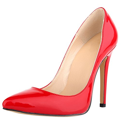 Pump Women's Leather Dress Toe Red Party Stiletto Pointed Patent Heel fereshte Wedding 4wqxvCd7vn