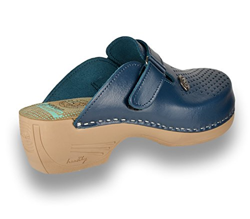 Bleu Mules Dames PU159 Chaussons Femme Cuir Sabots Chaussures Leon en q7O6Wvqx