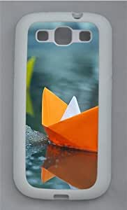 Paper Boat TPU Silicone Rubber Case Cover for Samsung Galaxy S3 SIII I9300 White