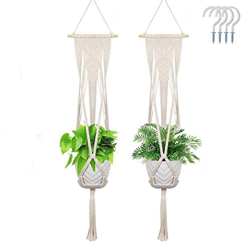 2 Pack Macrame Plant Hangers Boho Home Decor Hanging Planters for Indoor Outdoor Plants with 4 Hooks