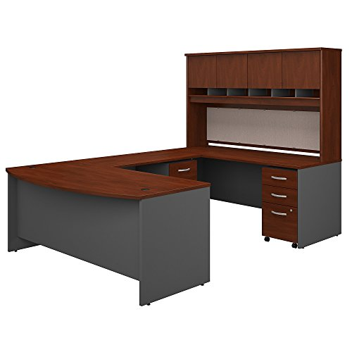Bush Business Furniture 72W Bow Front U Shaped Desk with Hutch and Storage in Hansen Cherry by Bush Business Furniture