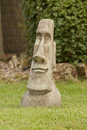 TIKI STATUE ORNAMENT EASTER ISLAND HEAD STONE GARDEN MOAI HEAD