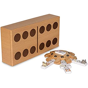 Yellow Mountain Imports Mexican Train Dominoes Game Set, Double 12 Dominoes, Case, Hub, Train Markers, Scorepad, and Instruction Manual