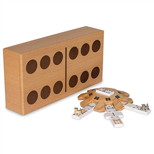 Train Mexican Set - Yellow Mountain Imports Mexican Train Dominoes Game Set - Complete Mexican Train Accessories Set - Double 12 Dominoes - Wooden Hub Centerpiece and Metal Train Markers