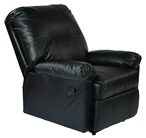 Office Star Kensington Bonded Leather Recliner, Black