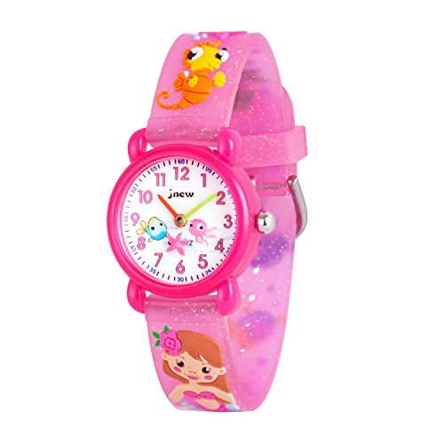 Wolfteeth Analog Girls Toddlers School Day Wrist Watch with Second Hand Cute Small Face Round Dial Water Resistant Little Girls Watch Sea Horse Band Pink - Face Girls Round