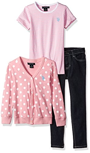 Polo Knit Pant Set (U.S. Polo Assn. Little Girls' Sweater, Knit Top and Pant Set, Prism Pink, 6X)
