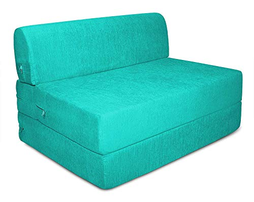 Aart Store One Seater Sofa Cum Bed Furniture 3x6 Feet Sleeps and Comfortably Perfect for Guests  Sky Blue