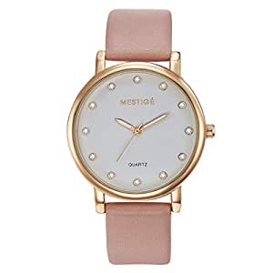 MESTIGE Womens Quartz Watch, Analog Display and Leather Strap MSWA3051
