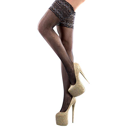 (TOYLACE Women Sexy Two-Tone Lace Top Fishnet Thigh High Stockings Stretchy Free Size Black)