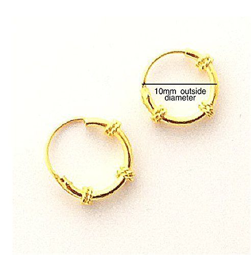 Amazoncom 18K gold filled Hoop Earrings EXCLUSIVE Bali Tribal