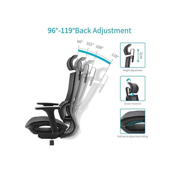 419E8YnnOeL 【Soporte lumbar inteligente】 El soporte lumbar único puede detectar de manera inteligente la gravedad y adaptarse perfectamente a su columna vertebral, ajustar el soporte de la cintura, corregir las vértebras lumbares y la pelvis, aliviar la fatiga y el dolor de su lumbar. 【Apoyabrazos 3D】 Esta silla de oficina está diseñada con apoyabrazos multifunción 3D. El reposabrazos 3D puede subir y bajar, adelante y atrás, ajuste de rotación. Proporcionan un soporte cómodo para los brazos con diversas posturas sentadas, maximizando la satisfacción de diversas necesidades. 【Malla transpirable】 El respaldo y el cojín del asiento están hechos de malla transpirable, que promueve la circulación de aire y no suda después del sedentarismo. Le permite experimentar una posición sentada cómoda y transpirable mientras se concentra y se relaja.