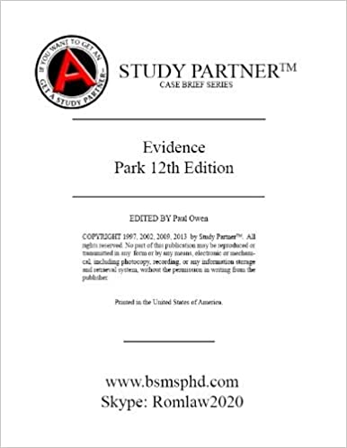 Read online Case Briefs Evidence Park 12th (Case Briefs by Rom Law) PDF, azw (Kindle), ePub, doc, mobi