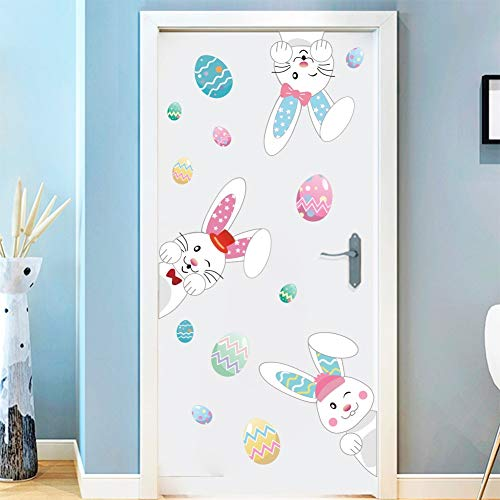 Cartoon Easter Bunnies Wall Decals Easter Eggs Wall Stickers, Lovely Easter Sticker Baby Room Decoration, Fridge Window Cling Decals Easter Home Decor(33 pcs) by DCTOP (Image #2)