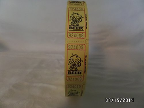 2000 Yellow Beer Single Roll Consecutively Numbered Raffle Tickets
