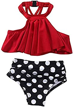 OneCut Girls Swimsuit Falbala High Waisted Bikini Set Halter Neck Swimwear Dots Printing Bathing Suits
