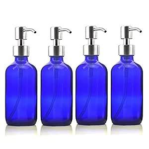 GO-AHEAD Dispensador Jabón 4pcs 250ml Botellas retornables de Vidrio Azul con el Acero Inoxidable Bomba de la loción for la Cocina del Cuarto de baño jabón líquido aceites Esenciales 8 oz: Amazon.es: