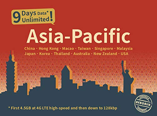 Asia-Pacific Unlimited Data / 9 Days Japan, China, HK, US, AU, NZ (Best Instant Messaging For Business)