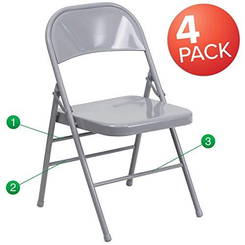 Flash Furniture 4-Pack Metal Folding Chairs, Gray