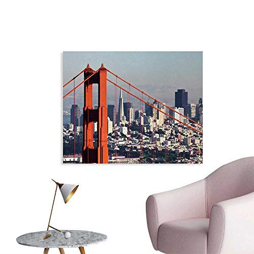 Tudouhoho United States The Office Poster San Francisco Bridge and Cityscape Metropolis Financial District Wallpaper Orange Baby Blue White W48 -