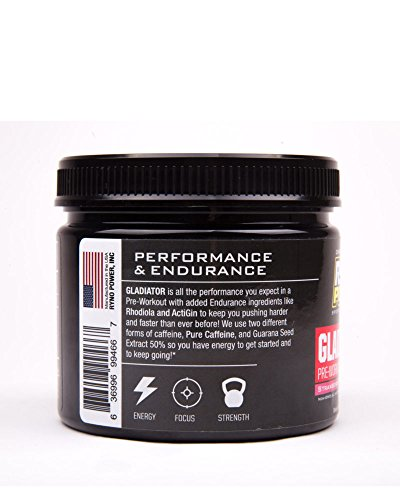 Ryno Power Gladiator Pre-Workout Powder - Strawberry Lemonade - Non-GMO Natural Ingredients - Contains Pure Caffeine and Guarana Seed Extract - 150g