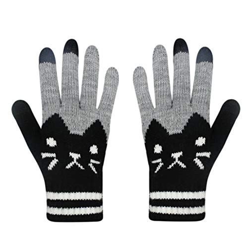 Women Men Winter Touch Screen Gloves Cat Warm Knit Texting Gloves Touchscreen Mittens ()