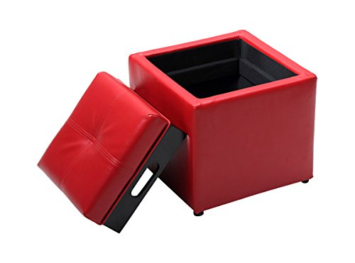 Hodedah Storage Ottoman with Flip Over Tray, Small, Red PVC