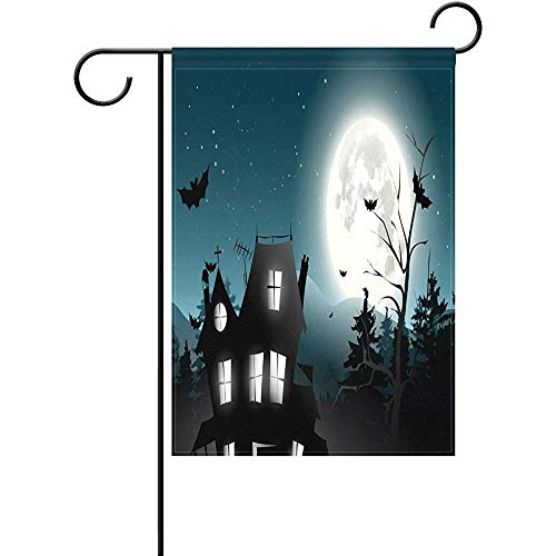 (HUVATT Halloween Full Moon Castle Bats Tree Garden Flag Double Sized Print Decorative Holiday Home)