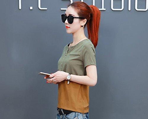 con grandi shirt Green V shirt estivo da Abito taglio scollo a con misto dimensioni colore T Army a di SLR in vivo donna lunghe maniche allentato T RqBwFnW65a