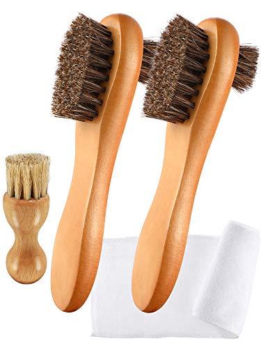 Youngjoy 4 Pieces Horsehair Shine Shoes Brush kit Polish Dauber Applicators -