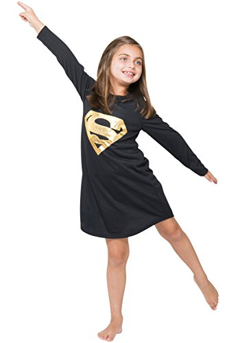 DC Comics Girls 'Superman Supergirl Gold Foil' Pajama Gown, Black, 7/8 ()