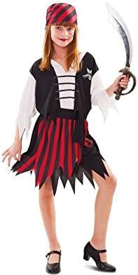 Disfraz de Pirata a Rayas rojo y negro para niña: Amazon.es ...