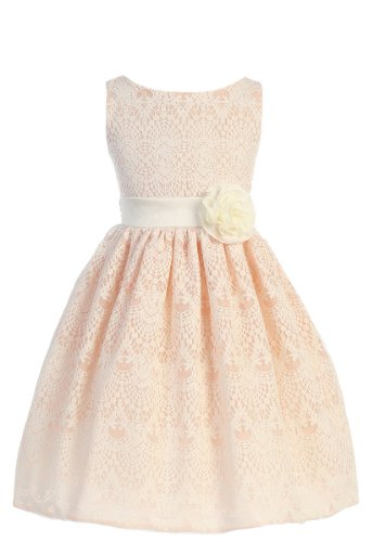 Price comparison product image Sweet Kids Girls 8 Peach Vintage Lace Overlay Easter Dress