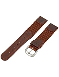 Hadley-Roma Men's MSM866RB 180 18mm Brown 'Swiss-Army' Style Nylon and Leather Watch Strap