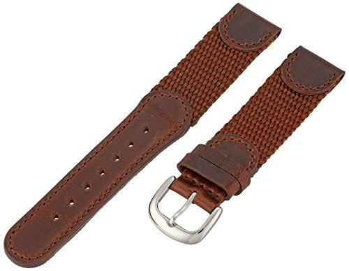 Hadley-Roma Men's MSM866RB 180 18-mm Brown 'Swiss-Army' Style Nylon and Leather Watch Strap