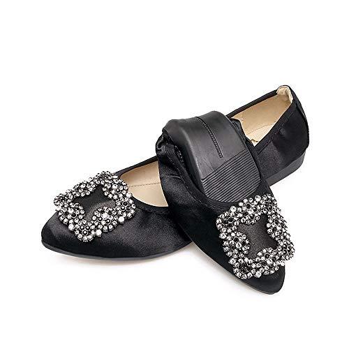 37 comode EU portatili profondo singole balletto UE ha pieghevoli scarpe scarpe del piane scarpe poco bocca di 39 fondo le della moda FLYRCX La sottolineato rhinestone molle casual qUSSwp