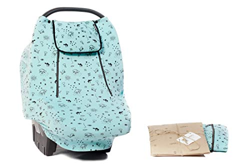 Baby Car Seat Covers for Girls Boys | Stretchy Infant Multi-use carseat Canopy | Nursing Breastfeeding Cover for Babies | Shopping Cart | Soft Fabric,Universal Fit,Breathable Windproof | Mosquito Net